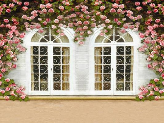 Katebackdrop:Kate Window And Flower Backdrop Morden Hourse Wedding Background