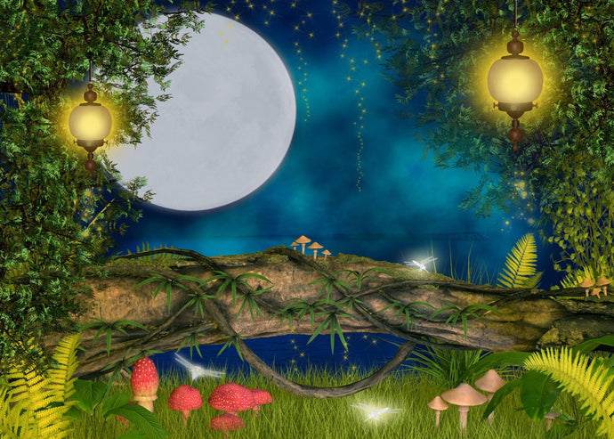 Katebackdrop:Moon Night Lantern Mushroom Tree Backdrop for Children Photography