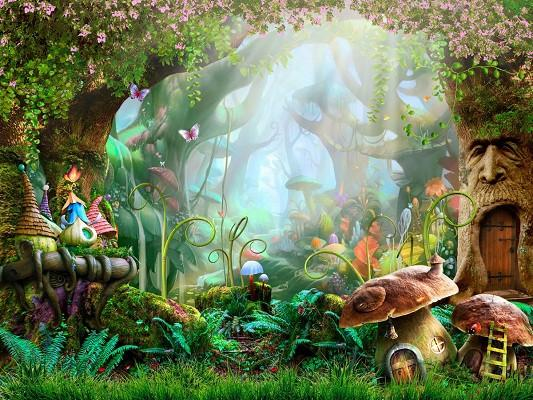 Katebackdrop:Kate Children Fairy Tale Colorful Forest Disney Mushrooms Backdrops