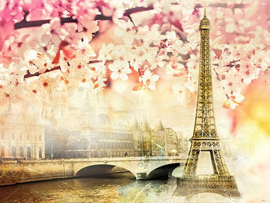 Katebackdrop Kate Pink Floral Scenery Paris Tower River Building Backdrops