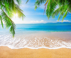 Katebackdrop:Kate Golden Beach Blue Sky and Sea in Sunshine Backdrop for Photography
