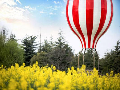 Katebackdrop:Kate Yellow Flower Scenery Backdrop Hot Air Balloon Photo
