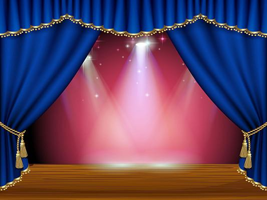 Katebackdrop:Kate Blue Curtain Stage Red Background Light Backdrop