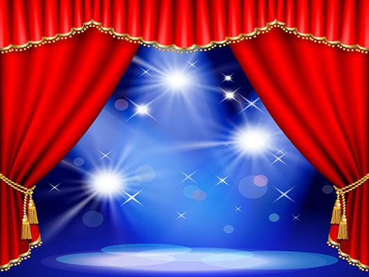 Katebackdrop:Kate Red Curtain Stage Blue Background photography Backdrop