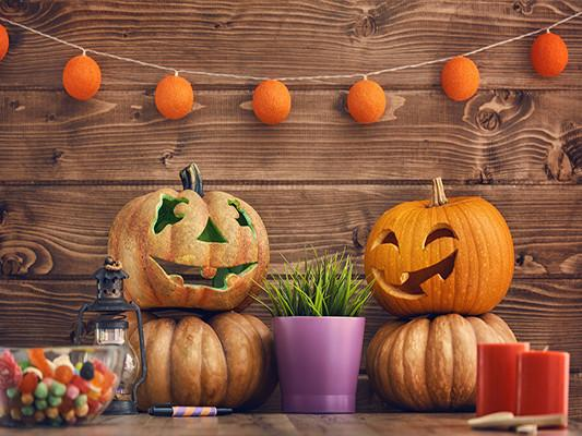 Katebackdrop:Kate Halloween Photo Backdrop For Children Wooden Wall Pumpkins