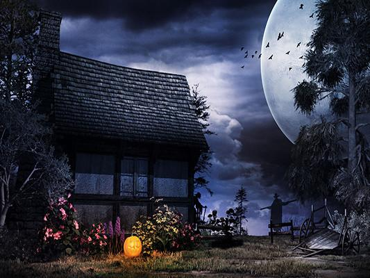 Katebackdrop:Kate Halloween Night Photography Backdrop House Under Moon