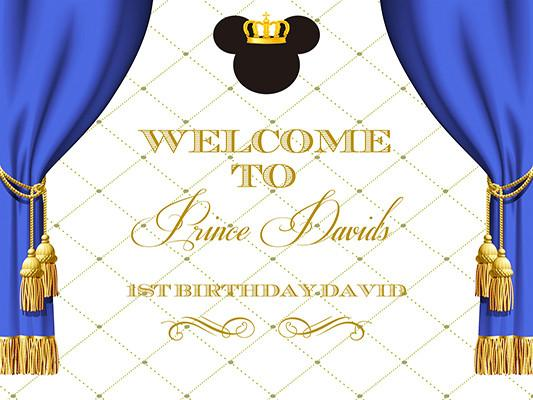 Katebackdrop:Kate Mickey Mouse Royal Blue Gold Crown Prince Photography Backdrops Birthday Party