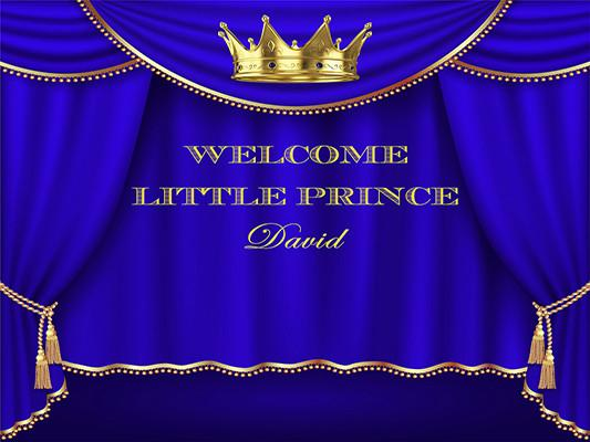 Katebackdrop:Kate Baby Shower Royal Blue and Gold Prince Crown Photography Backdrops