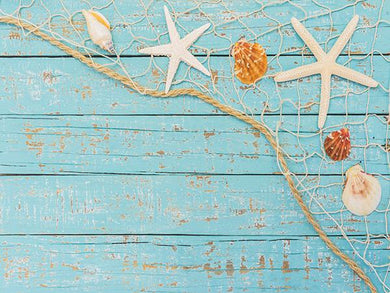 Katebackdrop£ºKate Summer Photography Backdrops Starfish Shell Wooden Wall Backdrop