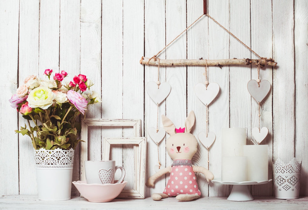 Katebackdrop:Kate White Wood Easter/Valentines Backdrop photography