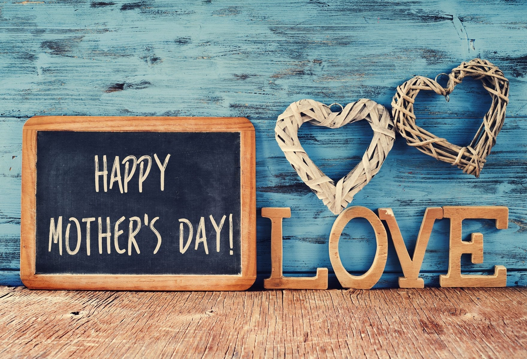 Laden Sie das Bild in den Galerie-Viewer, Katebackdrop:Kate Happy Mother's Day Backdrops for Photography Blue Wood Backdrops