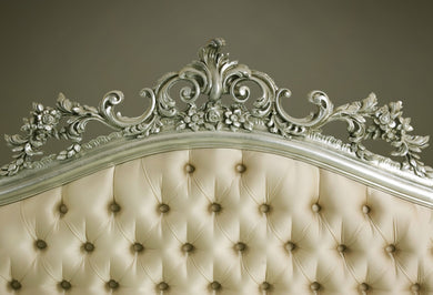Katebackdrop:Kate Luxury cream color Headboard with Silver Legs  backdrop for Photogarphy