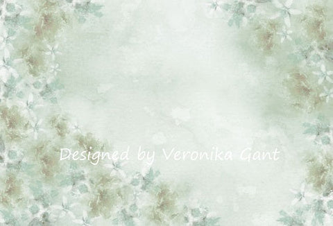 Kate Fine Art Watercolours Green Flowers Abstrakter Hintergrund von Veronika Gant