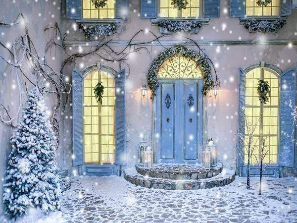 Katebackdrop£ºKate Christmas Winter Courtyard Backdrop Designed By Jerry_Sina