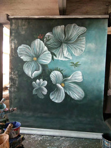 Kate Big Flowers Hand Painted Canvas Green Backdrop