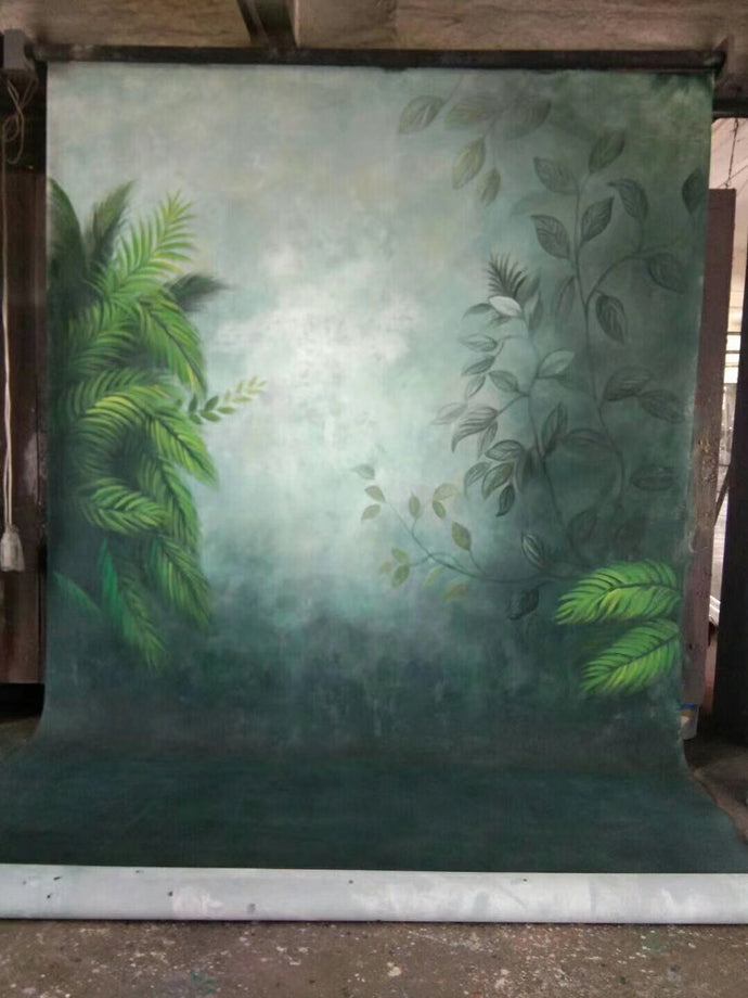 Kate Green Leaves Hand Painted Canvas Backdrop