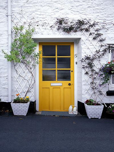 Katebackdrop:Kate Castle House Yellow Door Backdrop White Wall