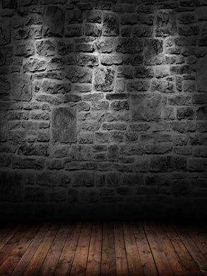 Katebackdrop:Kate Dark Retro Style Black Brick Wall With Flooring Backdrops