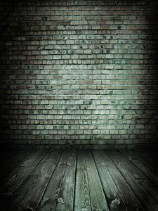 Katebackdrop:Kate Black Dark Brick Wall With Flooring Backdrop