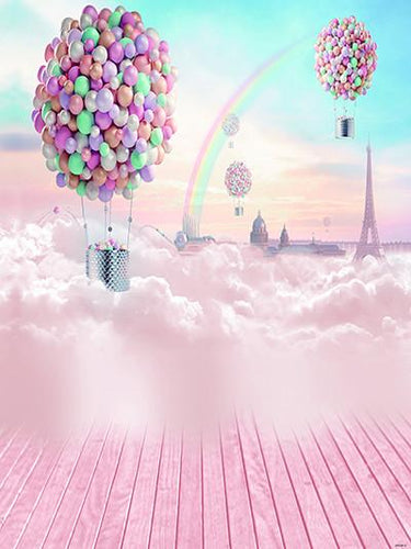 Katebackdrop:Kate Sky Cloud With Rainbow Ballon Backdrops Pink Wooden Floor