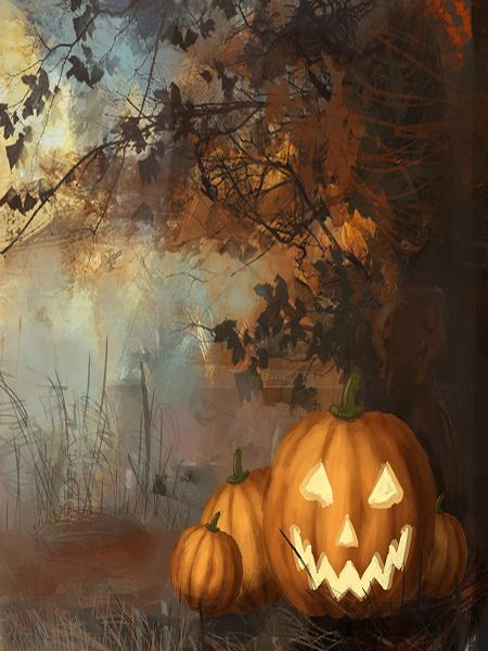 Katebackdrop:Kate Halloween Painting Pumpkins Tree Backdrop for Picture