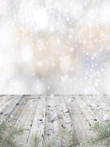 Katebackdrop:Kate White Bokeh Drop Snow Fantasy Gray Wood Floor Backdrop