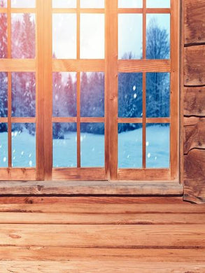 Katebackdrop:Kate Window Photo Winter Outdoor Snow Scenery Wood Background Photography