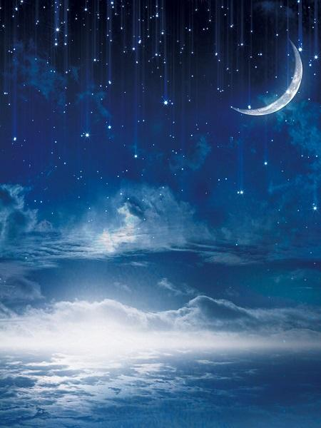 Katebackdrop:Kate Night Sky Backdrop Cloud Moon and Star Children