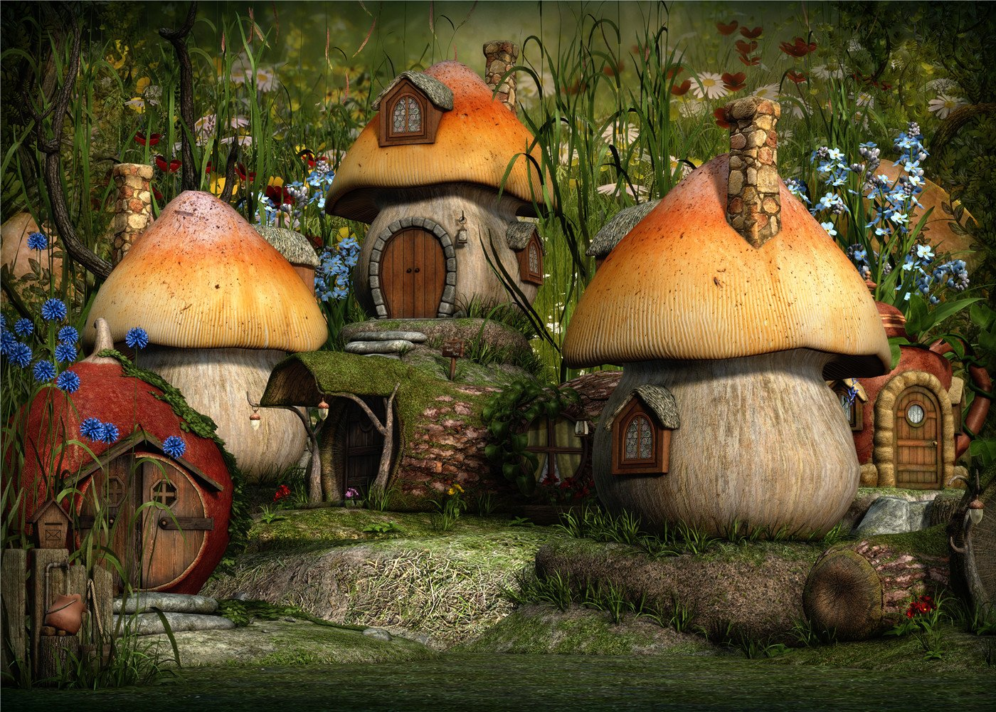 Katebackdrop:Kate Mushroom Fantasy Forest  Backdrop for Children Photography