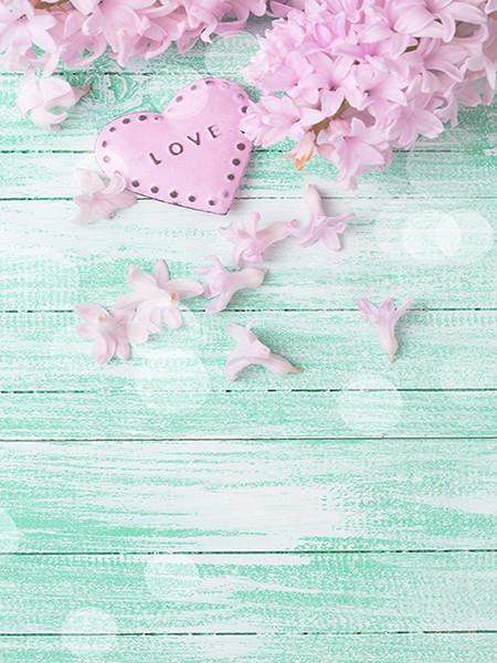 Katebackdrop:Kate Wooden Photography Background Love Flowers Blue Backdrop For Photo