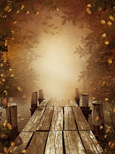 Katebackdrop:Kate Autumn Bridge Forest Scenery Fall Backdrops For Photography