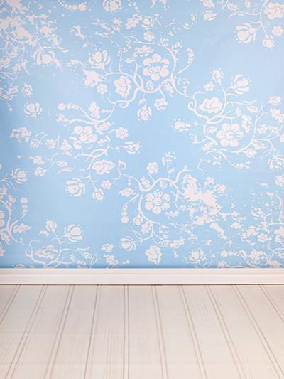 Katebackdrop:Kate damask Light Blue Pattern With Floor Background For Photography