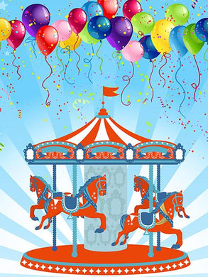 Katebackdrop:Kate Baby Photography Carousel Balloons Birthday Backdrop