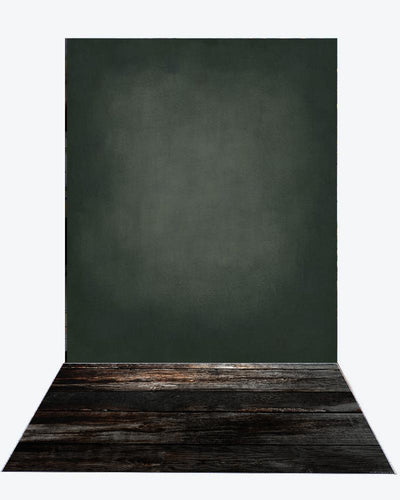Katebackdrop:Kate Cold Black, Litter Green And Light Middle Gray Textured Backdrop+Black Wood rubber floor mat