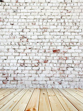 Katebackdrop:Kate Gray Brick Wall With Wooden Flooring Backdorp