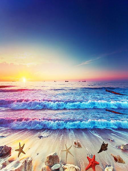 Katebackdrop:Kate Sunshine Beach Photograhpy Backdrops Shell Sea Wave Backdrop