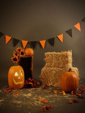 Katebackdrop:Kate Halloween Backdrops Pumpkin Straw Backdrop children Photo
