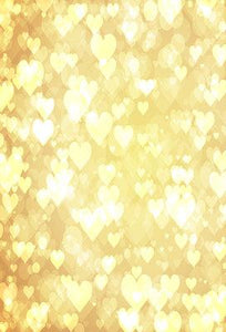 Katebackdrop:Kate Yellow Bokeh Love Heart Valentines Backdrop
