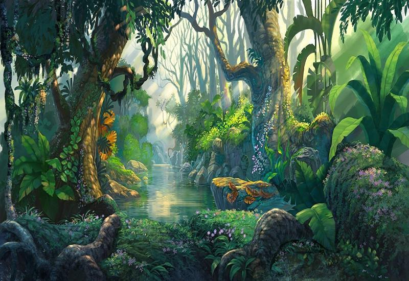 Katebackdrop:Kate Jungle Theme Backdrop Scenery Green Forest Tree Backdrop