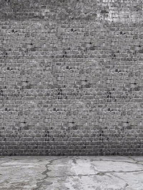 Katebackdrop:Kate Retro Style Grey Brick Wall With Concrete Floor Photography Backdrops