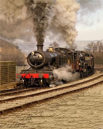Kate Old Fashion Backdrop Steam Train Road Background for Photography Studio