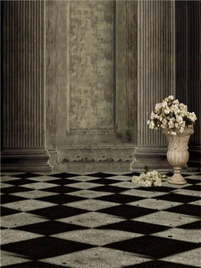 Kate Wedding Backdrop Black White Block Floor Rose Stone Pillar Background for Photo Studio