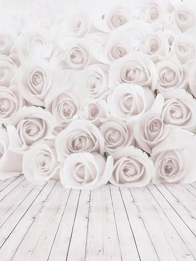 Katebackdrop:Kate White Rose Floral Bloom Wall Wood Floor Wedding Backdrop