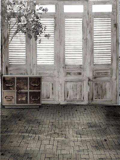 Katebackdrop:Kate Wood White Door Backdrops Dark Brick Floor Indoor