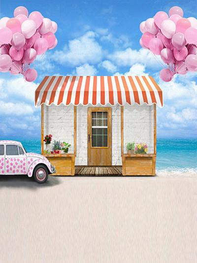 Katebackdrop:Kate Sea Beach House For Children Balloon Backdrop