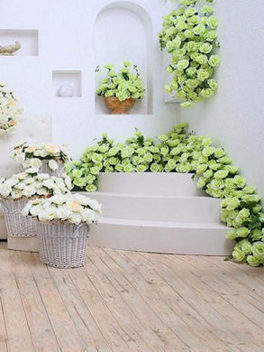 Katebackdrop:Kate Wedding White Wall Green Flowers Photography Backdrops