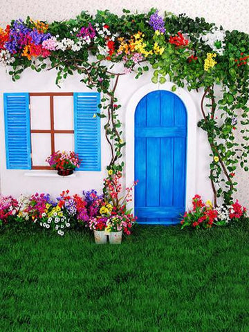 Katebackdrop:Kate Spring Backdrop Green Grassland Floor Blue Door Castle Background