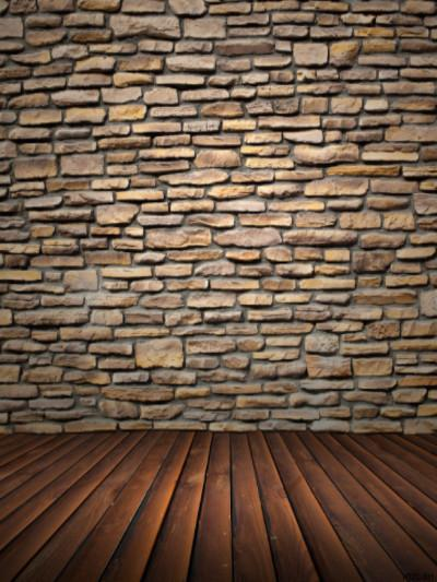 Katebackdrop:Kate Retro Style Brown Brick Wall Wooden Floor Backdrop