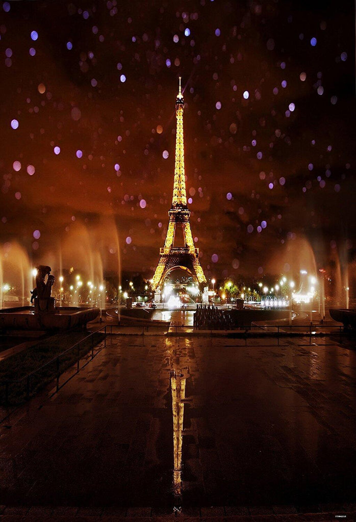 Katebackdrop:Kate Red Lights Eiffel Tower Night Scenery Backdrop