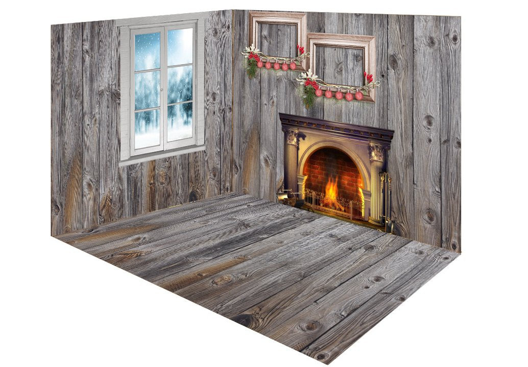 Katebackdrop:Kate Christmas gray wood room set